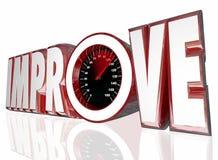 Mejore el mejor rendimiento del aumento de la medida del velocímetro de la palabra Fotos de archivo
