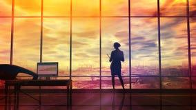 Mejore la situación ambiental, la silueta de una mujer en la oficina ilustración del vector