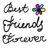 Mejores amigos exhaustos de la frase de la mano para siempre ilustración del vector