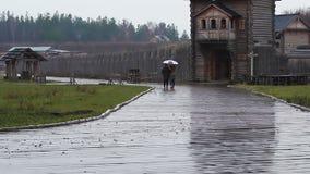 Mejores amigos que caminan en la lluvia en el complejo arquitectónico Otoño lluvioso almacen de metraje de vídeo
