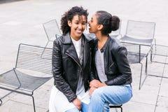Mejores amigos que hablan y que se divierten en parque Imagen de archivo