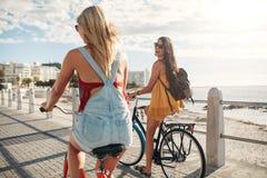 Mejores amigos que montan en sus bicis por el mar Foto de archivo