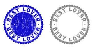 MEJORES sellos texturizados del sello del Grunge del AMANTE stock de ilustración