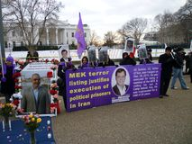 MEK Terror Listing. Photo of protesters at the white house on 1/29/11 protesting executions of mek members by the iranian government.  The mek is a terror group Stock Photography