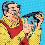 Mekaniker för humor för Repairmantelefonsmartphone stock illustrationer