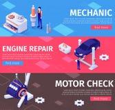 Mekaniker, motorreparation och kontrollservicebaner stock illustrationer
