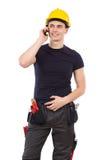 Mekaniker på en telefon Arkivfoton