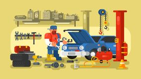 Mekaniker Repairs Car i garaget vektor illustrationer