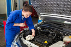 Mekaniker som kontrollerar oljan av bilen Arkivfoto