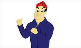 Mekaniker som rymmer hans hjälpmedel som bär en skotsk hatt vektor illustrationer