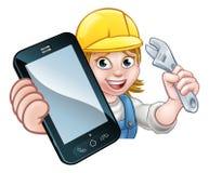 Mekanikerrörmokare Handyman Phone Concept royaltyfri illustrationer
