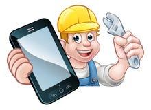 Mekanikerrörmokare Handyman Phone Concept stock illustrationer