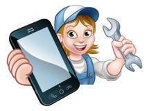 Mekanikerrörmokare Handyman Phone Concept vektor illustrationer