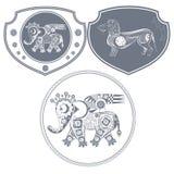 Mekanisk elefant för symbol Arkivfoton