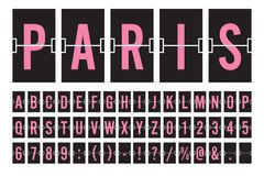 Mekanisk Flip Board Panel Font Vector för flygplats illustration stock illustrationer