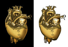 mekanisk guldhjärta Arkivfoto