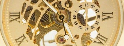 Mekanisk makro för guld- klocka Fotografering för Bildbyråer