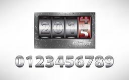 Mekanisk räknare för gammal metall med året 2015 Royaltyfri Bild