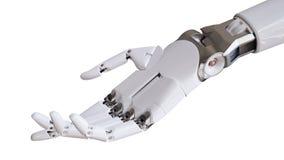 Mekanisk Robotic hand på den vita illustrationen för bakgrund 3d Arkivfoton