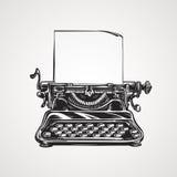 Mekanisk skrivmaskin för tappning Skissa vektorillustrationen Arkivfoton