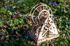 Mekanisk träkryssfaner för pussel 3D Fotografering för Bildbyråer
