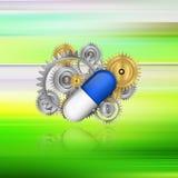 Mekaniska branscher i farmaceutisk tillverkning på abstr Royaltyfri Fotografi
