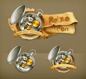 Mekaniska klockavektorsymboler royaltyfri illustrationer