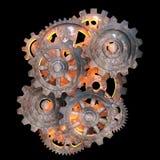 Mekaniska kugghjul av rostig metall. Stock Illustrationer