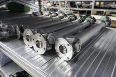 Mekaniska kugghjul i metall i lagerhus Arkivfoto