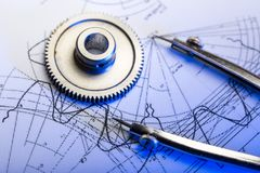 Mekaniska ratchets i blue arkivbild