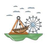 Mekaniska skeppritt för klotter och lekar för ferrishjul royaltyfri illustrationer