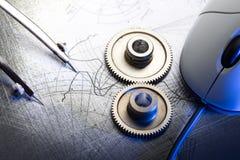Mekaniska spärrhjular och skissning arkivbild