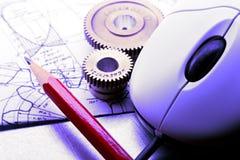 Mekaniska spärrhjular, skissning och mus arkivbild