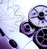 Mekaniska spärrhjular, skissning och mus fotografering för bildbyråer