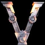 Mekaniskt alfabet som göras från järn Vektor Illustrationer