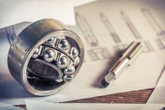 Mekaniskt lager och diagram fotografering för bildbyråer