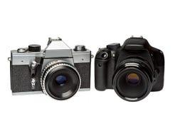 Mekaniskt och en digital fotokamera arkivfoto