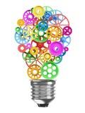 Mekanism av kugghjulen i form av en kula för elektrisk lampa Ide royaltyfri illustrationer