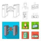 Mekanism, elkraft, transport och annan rengöringsduksymbol i översikten, lägenhetstil Passerande som är offentligt, trans., symbo vektor illustrationer