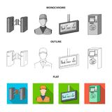 Mekanism, elkraft, transport och annan rengöringsduksymbol i lägenheten, översikt, monokrom stil Passerande som är offentligt, tr stock illustrationer