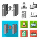 Mekanism, elkraft, transport och annan rengöringsduksymbol i monokrom, lägenhetstil Passerande som är offentligt, trans., symbole stock illustrationer