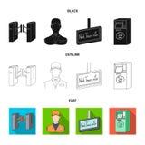 Mekanism, elkraft, transport och annan rengöringsduksymbol i svart, lägenhet, översiktsstil Passerande som är offentligt, trans., royaltyfri illustrationer