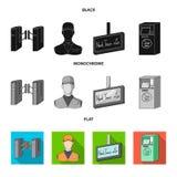 Mekanism, elkraft, transport och annan rengöringsduksymbol i svart, lägenhet, monokrom stil Passerande som är offentligt, trans., vektor illustrationer