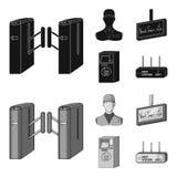 Mekanism, elkraft, transport och annan rengöringsduksymbol i svart, monokrom stil Passerande som är offentligt, trans., symboler  stock illustrationer