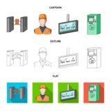 Mekanism, elkraft, transport och annan rengöringsduksymbol i tecknade filmen, översikt, lägenhetstil Passerande som är offentligt stock illustrationer