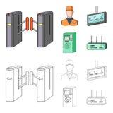 Mekanism, elkraft, transport och annan rengöringsduksymbol i tecknade filmen, översiktsstil Passerande som är offentligt, trans., vektor illustrationer