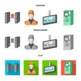Mekanism, elkraft, transport och annan rengöringsduksymbol i tecknade filmen, lägenhet, monokrom stil Passerande som är offentlig royaltyfri illustrationer