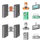 Mekanism, elkraft, transport och annan rengöringsduksymbol i tecknade filmen, monokrom stil Passerande som är offentligt, trans., vektor illustrationer