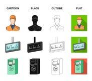 Mekanism, elkraft, transport och annan rengöringsduksymbol i tecknade filmen, svart, översikt, lägenhetstil Passerande som är off stock illustrationer