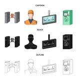 Mekanism, elkraft, transport och annan rengöringsduksymbol i tecknade filmen, svart, översiktsstil Passerande som är offentligt,  vektor illustrationer